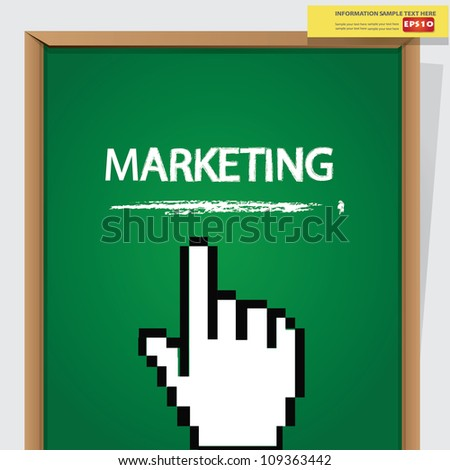 Finger and marketing icon on blackboard background,Vector - stock vector
