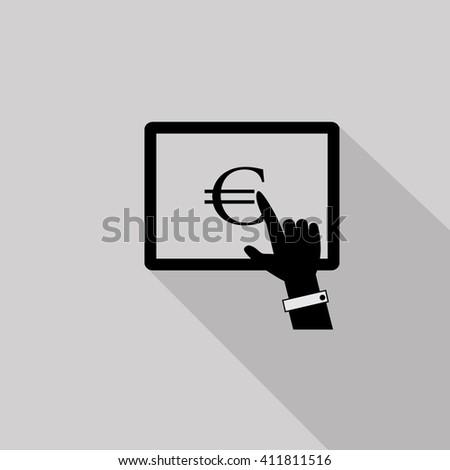 Finger Click Payment - Isolated On Gray Background-Vector Illustration,Graphic Design. Business Concept - stock vector