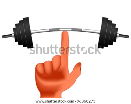 finger holding weights against white background, abstract vector art illustration; image contains gradient mesh - stock vector