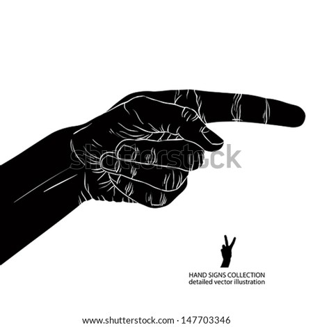 Finger pointing hand, detailed black and white vector illustration, hand sign.
