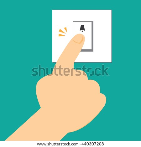 Finger Pressing The Doorbell Switch Vector