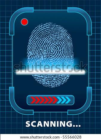 Finger-print scanning - stock vector