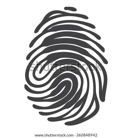 Finger print with access keyhole shape. Security concept. Vector fingerprint isolated on white background - stock vector