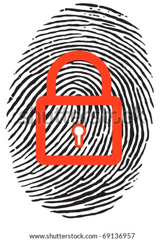 Finger Print with closed, red u-lock - stock vector