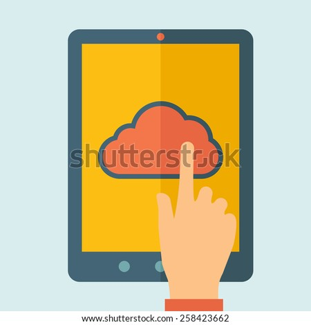 Finger touching cloud on a tablet touch screen. Cloud computing concept. Vector flat design Illustration. - stock vector