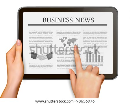 Finger touching digital tablet screen with business news. Vector illustration. - stock vector