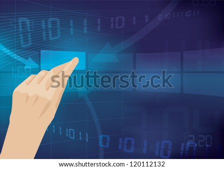 finger touching screen on tablet-pc