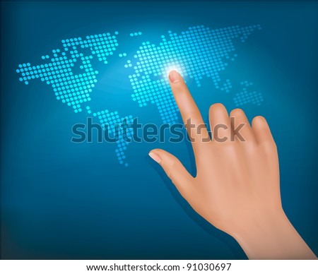 Finger touching world map on a touch screen. Vector. - stock vector