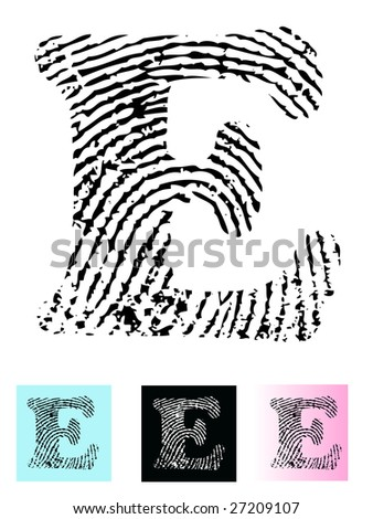 Fingerprint Alphabet Letter E (Highly detailed Letter - transparent so can be overlaid onto other graphics) - stock vector