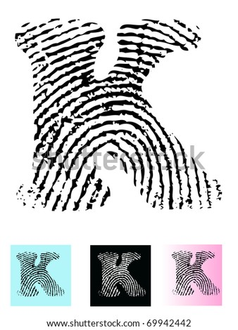 Fingerprint Alphabet Letter K (Highly detailed Letter - transparent so can be overlaid onto other graphics) - stock vector