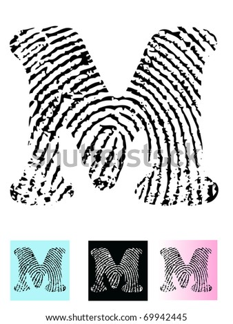 Fingerprint Alphabet Letter M (Highly detailed Letter - transparent so can be overlaid onto other graphics) - stock vector