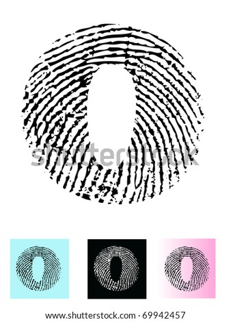 Fingerprint Alphabet Letter O (Highly detailed Letter - transparent so can be overlaid onto other graphics) - stock vector