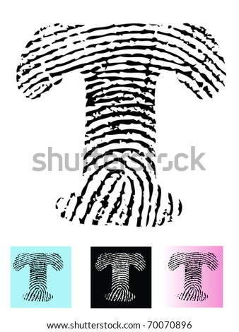 Fingerprint Alphabet Letter T (Highly detailed Letter - transparent so can be overlaid onto other graphics) - stock vector
