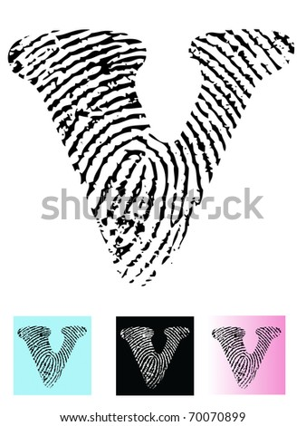 Fingerprint Alphabet Letter V (Highly detailed Letter - transparent so can be overlaid onto other graphics) - stock vector