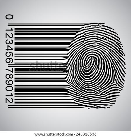 Fingerprint becoming barcode vector illustration - stock vector