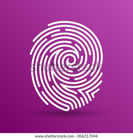 Fingerprint icon finger print vector id theft macro stamp. - stock vector