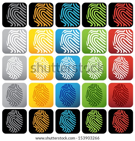 Fingerprint icon set - stock vector