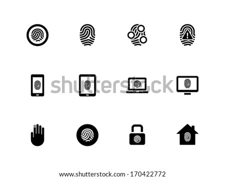 Fingerprint icons on white background. Vector illustration. - stock vector