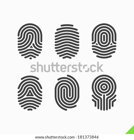 Fingerprint icons set. Vector. - stock vector