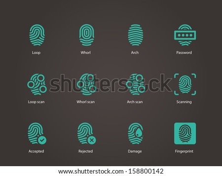 Fingerprint icons. Vector illustration. - stock vector