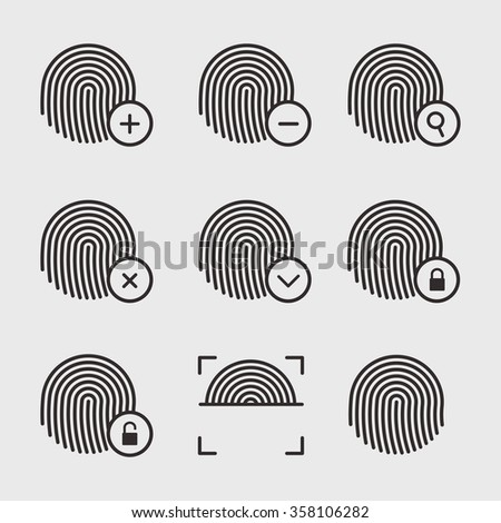 Fingerprint icons vector set. Fingerprint identification signs. Scanning and protection of fingerprints. Fingerprint vector symbols. Lock and unlock by fingerprints. - stock vector