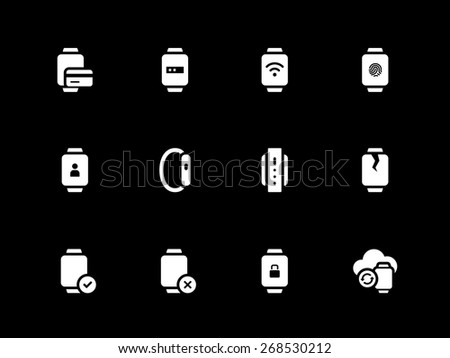 Fingerprint id and payment in smart watch icons on black background. Vector illustration.