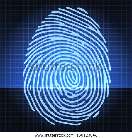 Fingerprint identification scanning system. Finger print icon. Vector illustration - stock vector