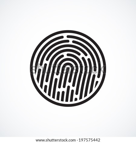 Fingerprint identification system, black symbol isolated on white background, vector illustration - stock vector