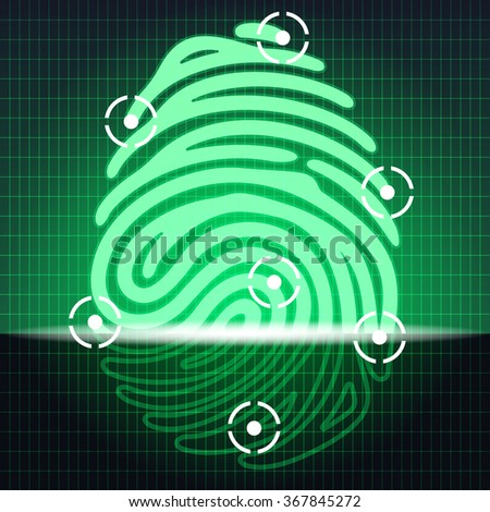 fingerprint identification system. Security systems. Electronic scheme green glowing finger print. Vector illustration - stock vector