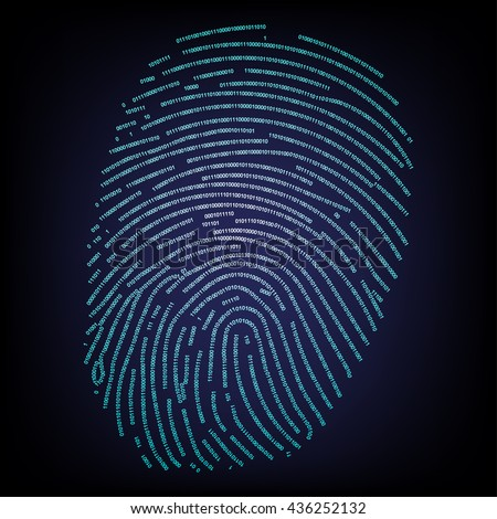Fingerprint made with binary code concept - stock vector