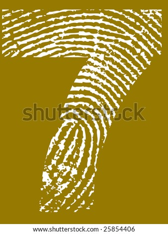 Fingerprint Number - 7 (Highly detailed grunge Number) - stock vector
