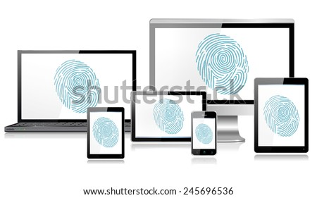 Fingerprint Recognition on Realistic mobile and computer devices with laptop, tablet, mini tablet and smartphone - each device grouped and on a separate layer with reflections, EPS10  - stock vector