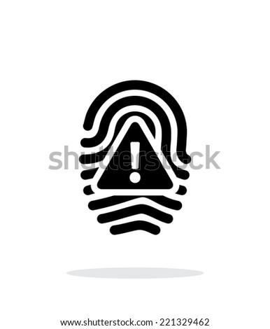 Fingerprint scan error icon on white background. Vector illustration. - stock vector