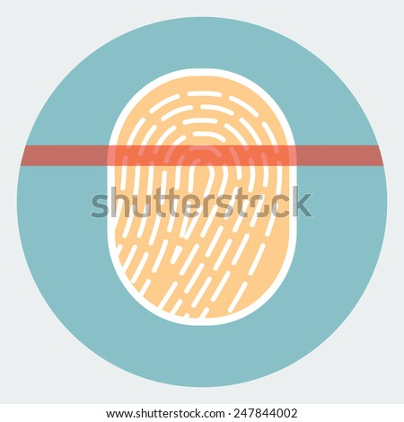 Fingerprint scanner icon - stock vector