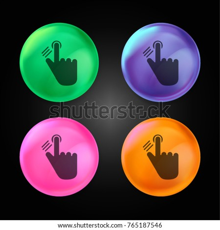 Fingerprint scanning process crystal ball design icon in green - blue - pink and orange.