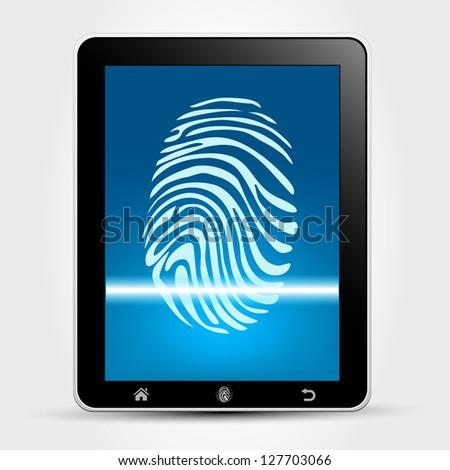 Fingerprint Scanning Tablet - stock vector