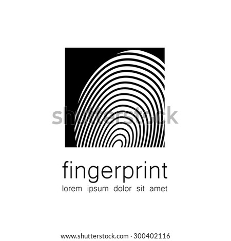 Fingerprint - the template for a logo. Symbol fingerprint - a sign of identification, preservation and protection. - stock vector