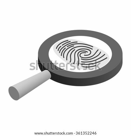 Fingerprint under a magnifying glass isometric 3d icon on a white background - stock vector