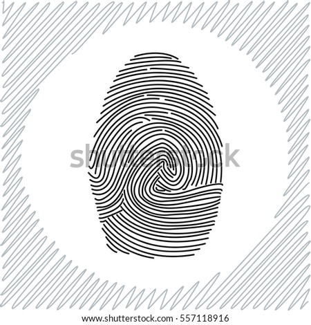 Fingerprint vector icon - black  illustration