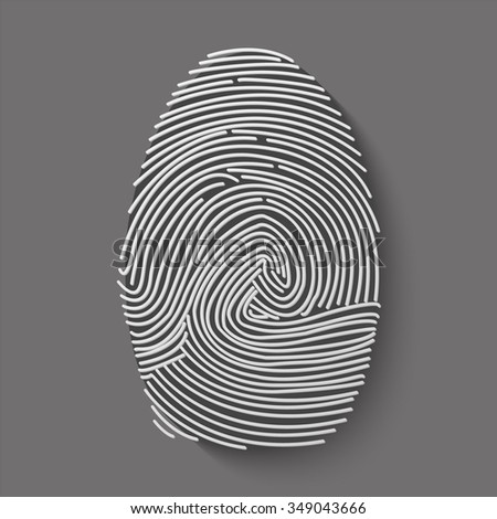 fingerprint vector icon with shadow