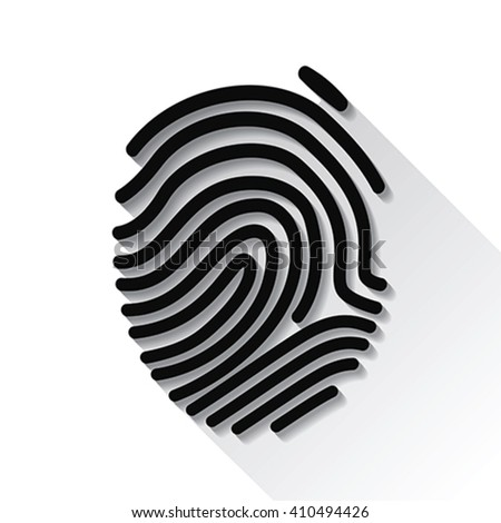 Fingerprint with long shadow, vector - stock vector