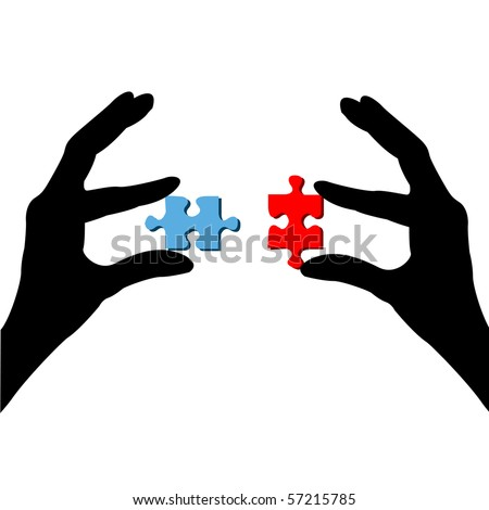Fingers and puzzle on a white background - stock vector