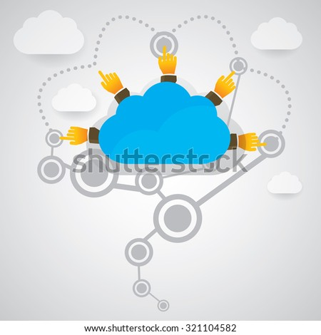 Fingers pointing to the sky. - stock vector