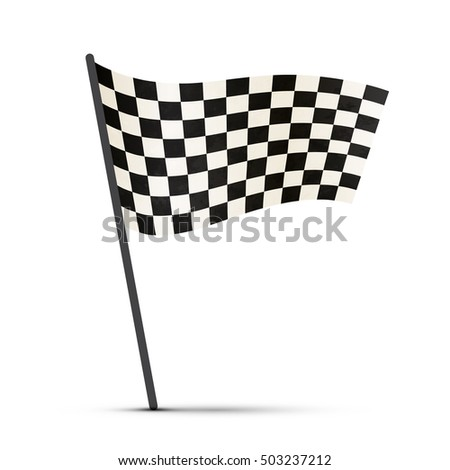 Finish flag on a pole with shadow isolated on white