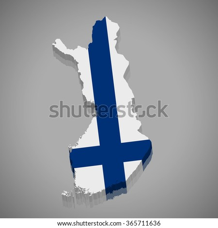 Finland - 3D map and flag - stock vector