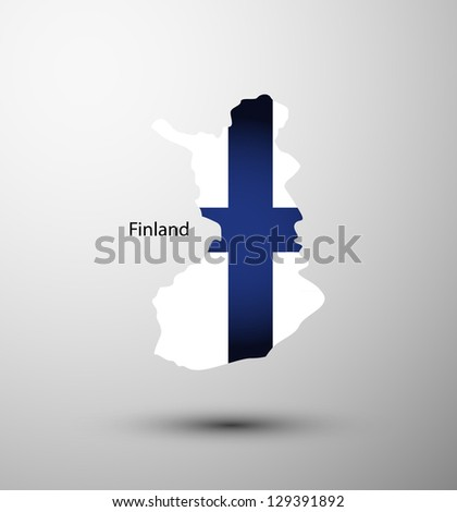 Finland flag on map of country - stock vector