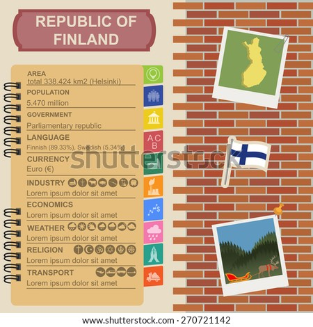 Finland infographics, statistical data, sights. Vector illustration - stock vector
