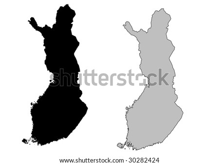 Finland map. Black and white. Mercator projection. - stock vector