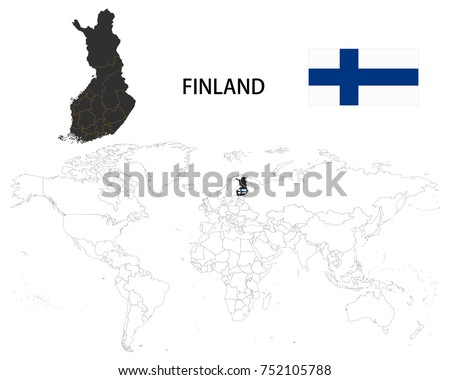 Finland map on world map flag stock vector 752105788 shutterstock finland map on a world map with flag on white background gumiabroncs Choice Image