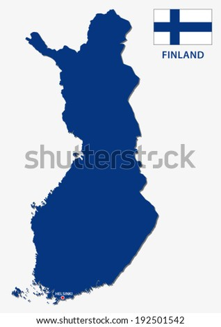 finland map with flag - stock vector